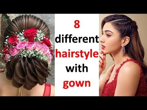 8 Easy And Simple Hairstyles With Gown Hairstyle For Wedding Open Hairstyle Quick Hairstyle You Hairstyles For Gowns Open Hairstyles Easy Hairstyles