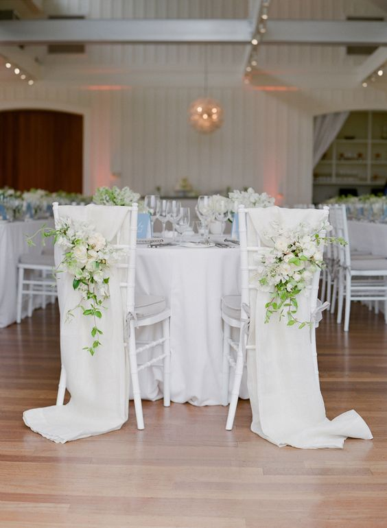 Whimsical, romantic chair detail for the bride and groom