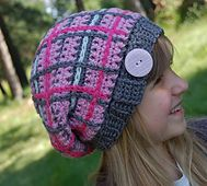 "Ravelry: ""Perfectly Plaid"" Slouch Hat pattern by Jennifer Pionk"