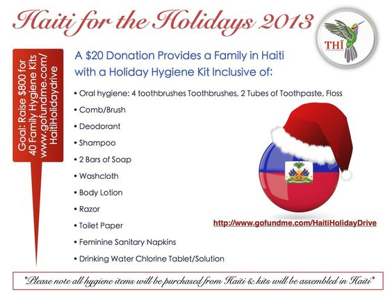 This #GivingTuesday we launched our Haiti Family Holiday Hygiene Kit Online Campaign as apart of our Haiti for the Holidays Drive. For only a $20 donation a family in Haiti will receive a Hygiene kit assembled by our volunteers and youth in Haiti inclusive of: Toothbrushes, Toothpaste, floss, deodorant, bars of soap, body lotion, toilet paper, shampoo, women's sanitary napkins, brush/comb, a shaving razor & water treatment tablets/solution along with other hygienic products.
