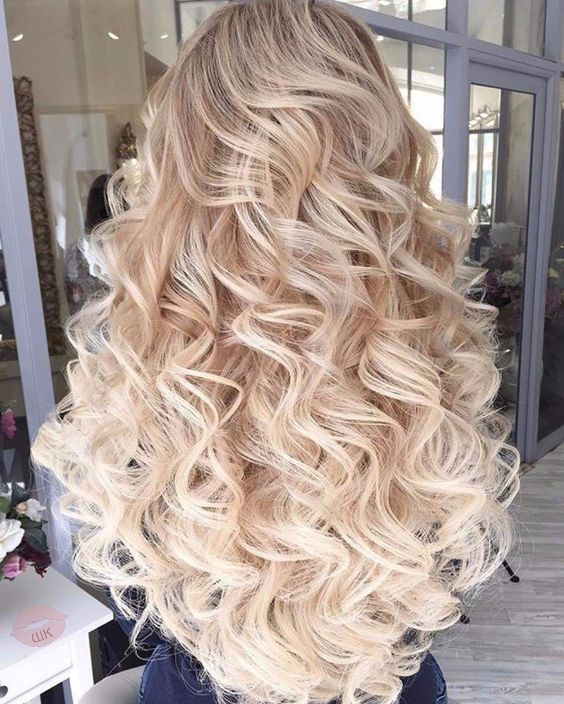 Long Curly Hairstyle Loose Full Volume Blonde Ombre Platinum Blonde Flat Iron Wand Long Hair Styles Hair Styles Long Curly Hair