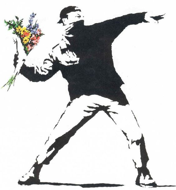banksy- here! have some flowers!