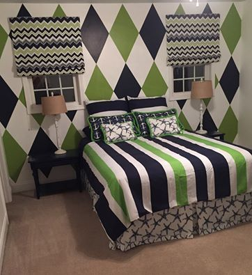 Argyle Wall Treatment I painted along with custom roman shades and bedskirt I sewed featuring navy and lime with a touch of nautical thrown in for good measure.jpg: