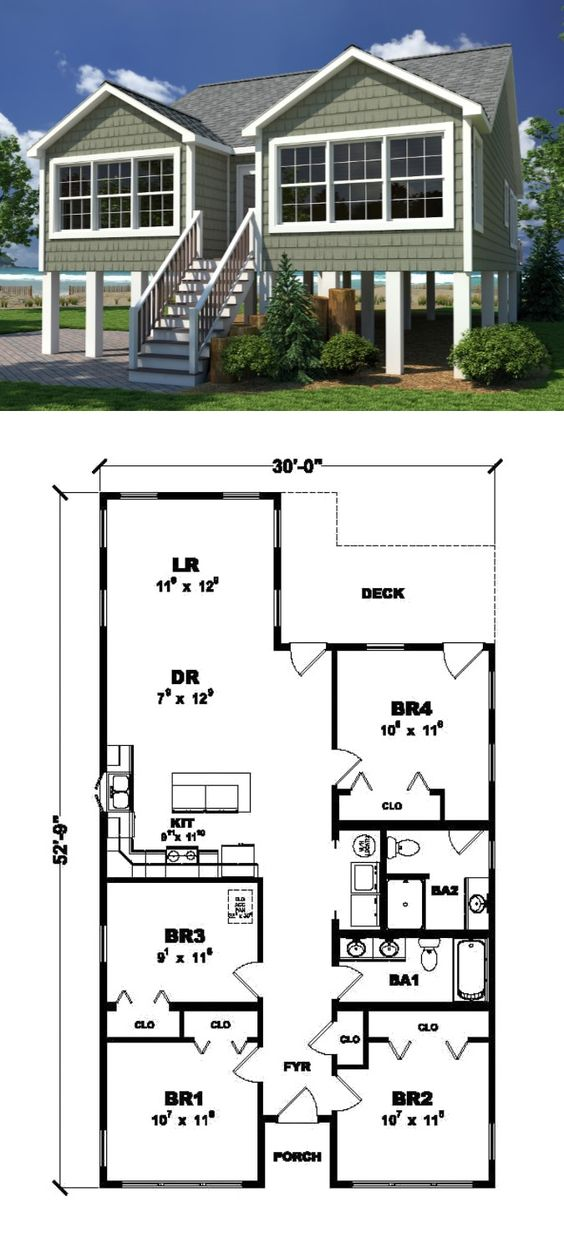 The coastal cottage 1 362 sq ft ranch style home 4 for Coastal ranch house plans