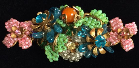 Enchanting Vintage Miriam Haskell Brooch Pin~Multi-Color-Art Glass/Seed Beads/Rhinestones/Gilt Filigree~Signed
