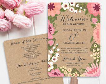 DIY Printable Wedding Fan Programs Violet por CreativeUnionDesign
