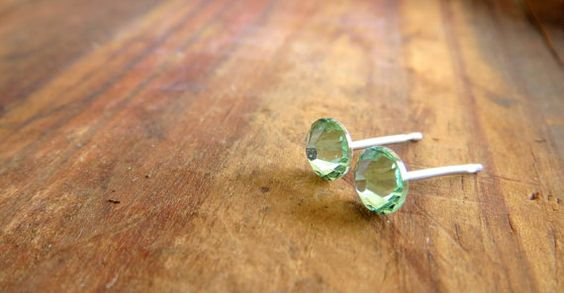 Surgical Stainless Steel Post Earrings Chrysolite by SweetLobes,