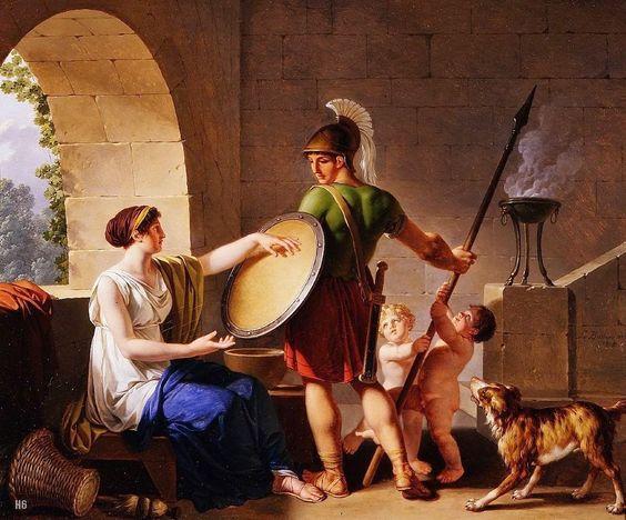 Mes Images: Une Femme spartiate donnant un bouclier à son Fils - Jean Jacques Francois Le Barbier.English. 1738-1826.