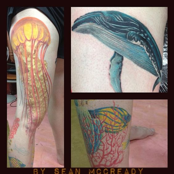A very beautiful ocean tattoo jellyfish whale and fish for Oahu tattoo shops