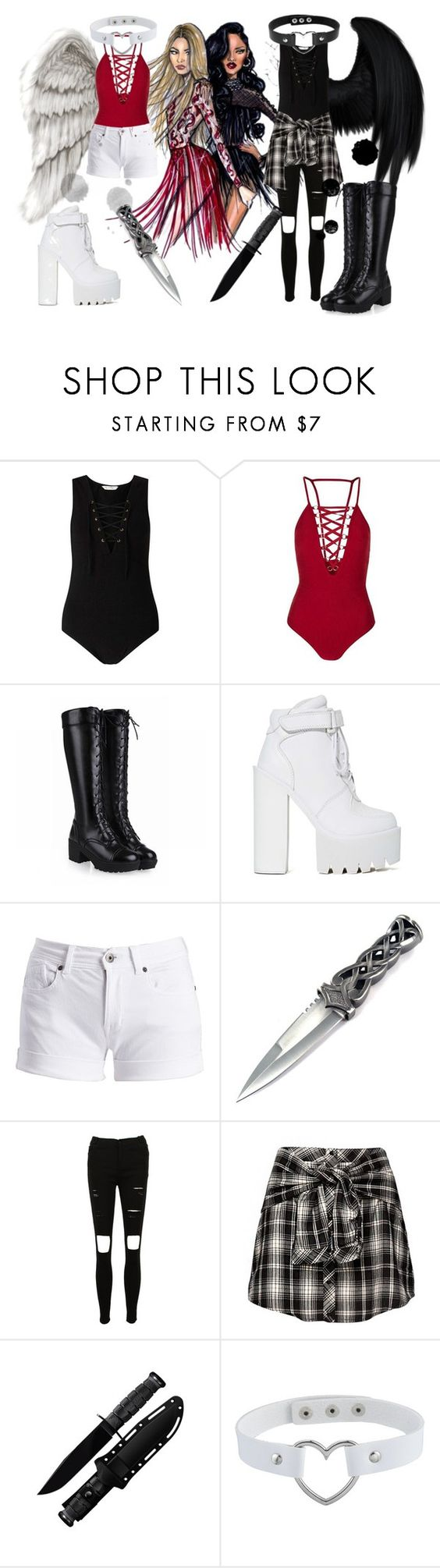 """Sisters And Fallen Angels!"" by isabeldizova ❤ liked on Polyvore featuring Miss Selfridge, Topshop, Jeffrey Campbell, Barbour International, StreetStyle, white, black, friends and blackandwhite"