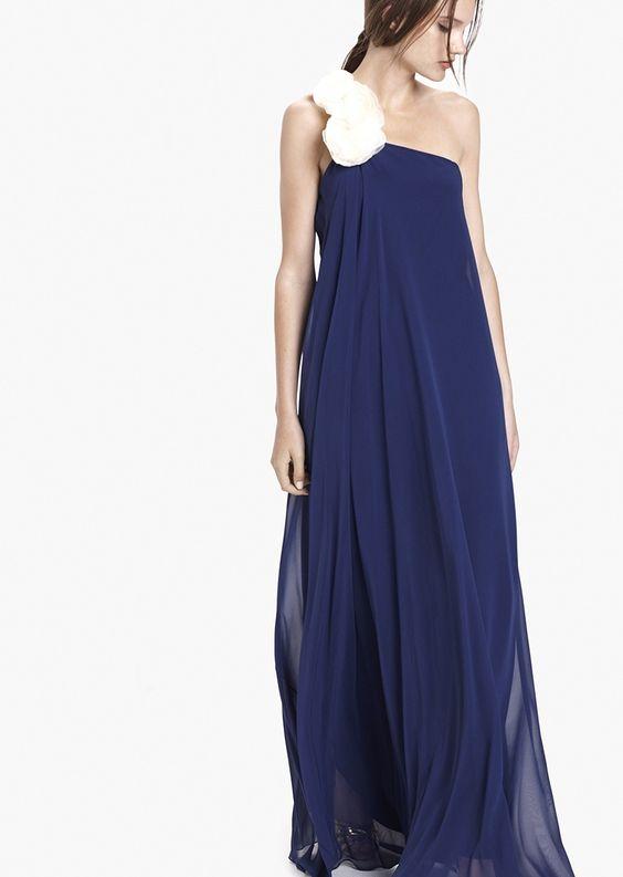 Vestido de seda azul Lanflo- Etxart&Panno Online