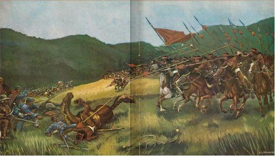 Batalla de Quechereguas, 1868. Carga de la caballería mapuche