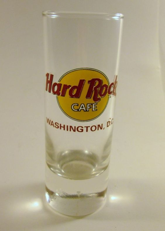 Hard Rock Cafe Shot Glass Red Lettering Washington, DC Souvenir 2 oz Collectible