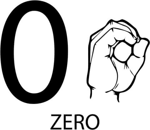 Asl Number Zero Coloring Page Printable Coloring Pages Sign Language Colors Free Printable Coloring Pages