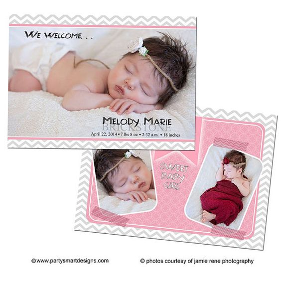 4x6 & 5x7 Instant Download - Photoshop PSD layered Templates for Photographers - Birth Announcement - Melody Design
