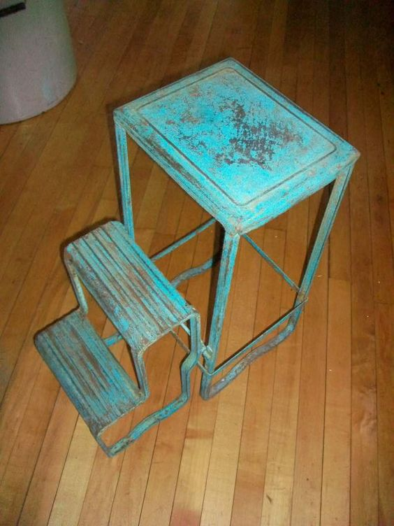 Vintage Folding Step Stool Metal Ladder Country Turquoise