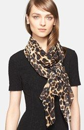 St. John Collection Leopard Print Silk Georgette Scarf (Nordstrom Exclusive)