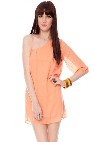 Simple One Shoulder Apricot Dress www.tobi.com