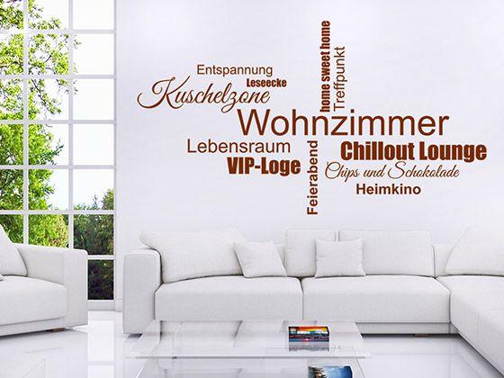 Wortwolken Wandtattoo Wohnzimmer aus verschiedenen originellen Begriffen, die man mit dem Wohnraum verbinden kann. #Chillout #Entspannung