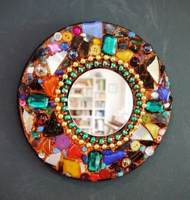 Easy diy mosaic mirror via the art annex best crafts for Glass and mirror craft