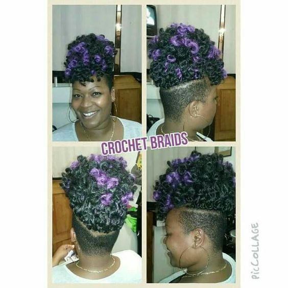 Crochet Hair Shaved Sides : Protective style; Crochet braids & shaved sides; purple w/Marley Hair