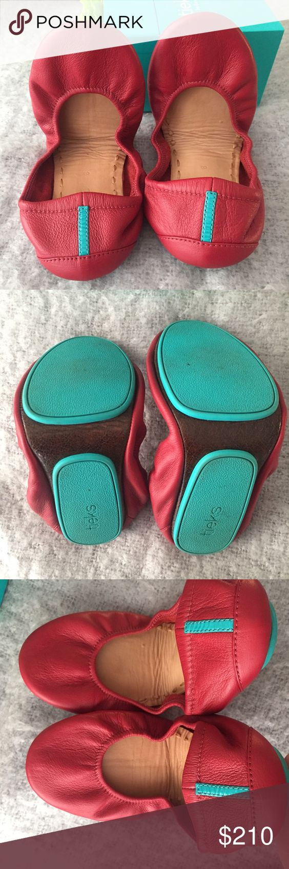 Tieks Cardinal Red size 8 Tieks! Worn once. Size 8. No flaws. Didn't fit me properly. Just recouping my funds. Cross listed!! Tieks Shoes Flats & Loafers