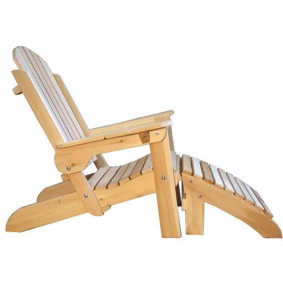 Fauteuil adirondack avec repose pieds fauteuil pliant bois for Fauteuil bois blanc