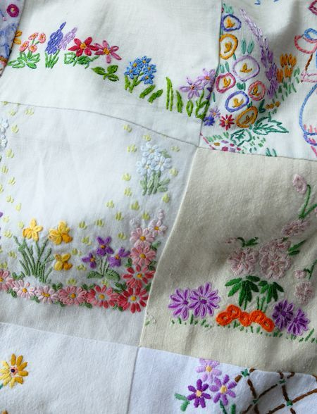 Bits of scarves, napkins sewn into a sweet quilt by Jane Brocket: The Gentle Art of Stitching | yarnstorm.blogs.com