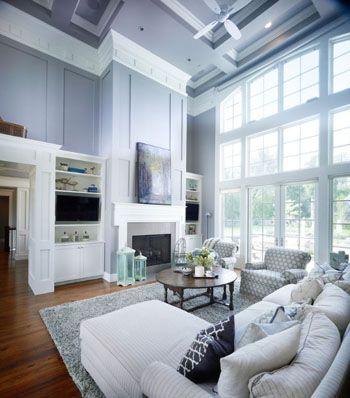 Two Story Living Room Blue Gray Walls White Trim White