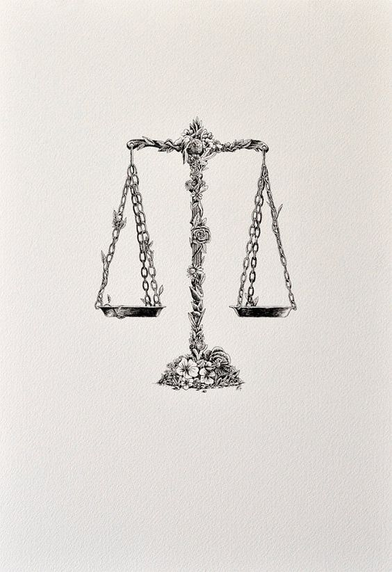 LIBRA - ARCHIVAL PRINT. I seriously want an old school scale tattoo with romantic features...someone should design it for me ;)