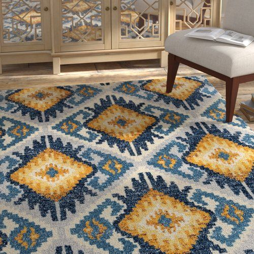 Dietz Midnight Blue Yellow Area Rug Yellow Area Rugs Area Rugs