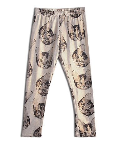 Another great find on #zulily! White Kitty Leggings - Toddler & Girls…