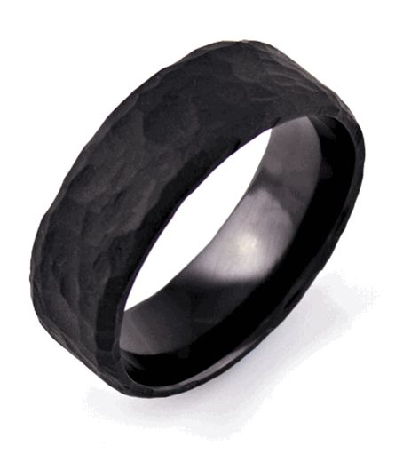 Mens Hammered Flat Black Wedding Band