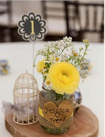 Wedding Centerpiece. Yellow, Gray and White. Ranunculus and field daisies. Birdcage, burl and burlap