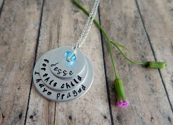 for this child I have prayed / Hand Stamped Personalized Necklace / New Mom Gift / Custom Push Gift / Personalized New Mom Necklace by kimgilbert3 on Etsy