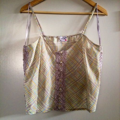 NEW Intimately Free People Lace Satin Adjustable Plaid Camisole Size M