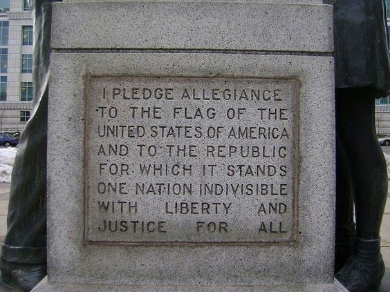 The original pledge of allegiance as we said it, in 1954 during the McCarthy era,  under God was added.