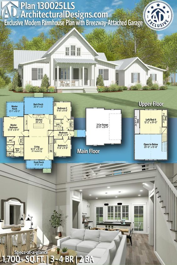 Plan 130025lls Exclusive Modern Farmhouse Plan With Breezeway Attached Garage Modern Farmhouse Plans Farmhouse Plans House Plans Farmhouse
