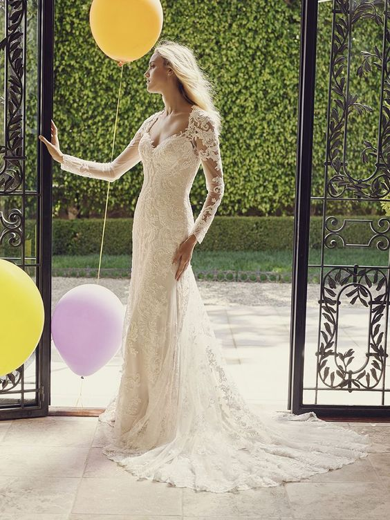 Casablanca bridal gown with lace long sleeves, also available with cap sleeves