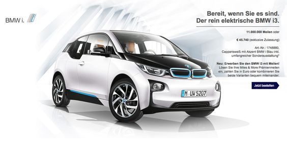 You can now buy a BMW i3 with airline miles - http://www.bmwblog.com/2015/08/28/you-can-now-buy-a-bmw-i3-with-airline-miles/
