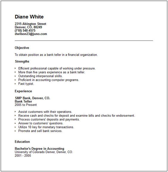 sample bank teller resume with no experience http www