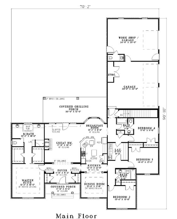 European Traditional House Plan 61039 Workshop House