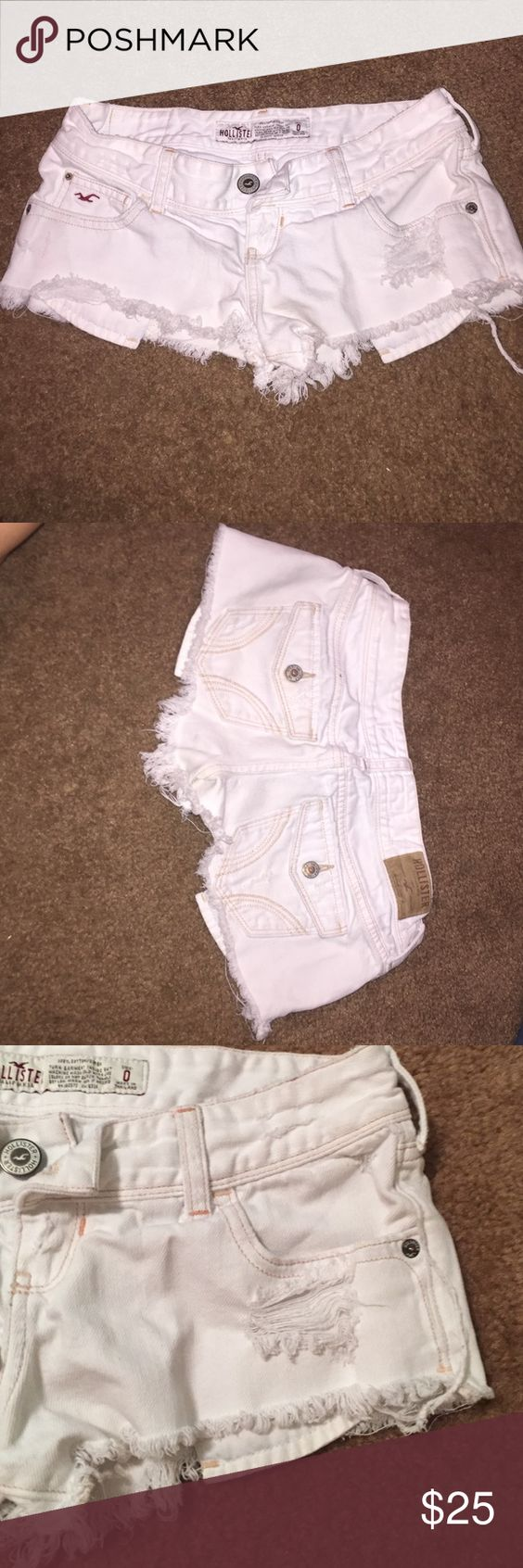 Hollister shorts Hollister white jean short shorts, size 0. Intentional rips and frays. Lightly worn. No stains. Hollister Shorts Jean Shorts