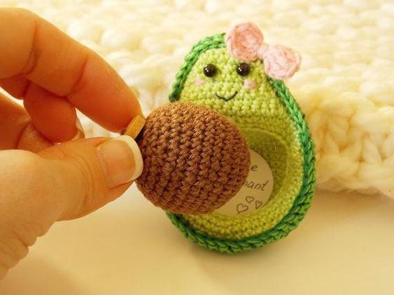 Kawaii aguacate-decoración Crochet embarazada aguacate | Etsy