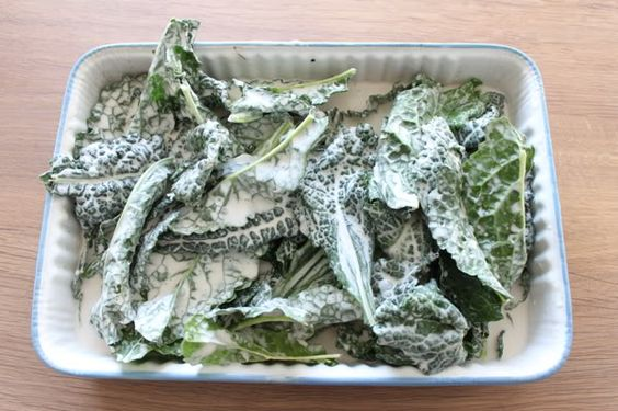 Marinating Kale with coconut milk and grilling the leaves