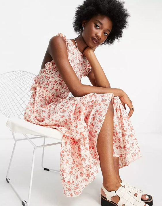 ASOS DESIGN shirred bodice tiered midi smock dress with strappy back in red ditsy floral print