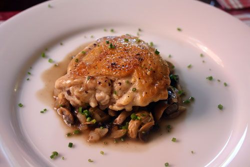 ... chicken thighs EVER-Jacques Pepin's Crusty Chicken with Mushrooms and