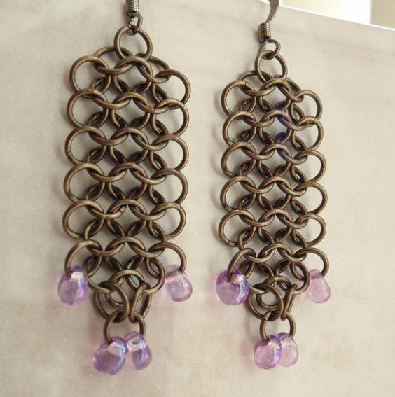 Chain Maille Earrings Euro 4 in 1 Dangle Gunmetal by cutterstone, $15.00