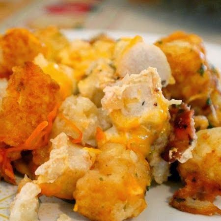 Cheesy chicken bacon tater tot crock pot bake recipe for Healthy casserole crock pot recipes