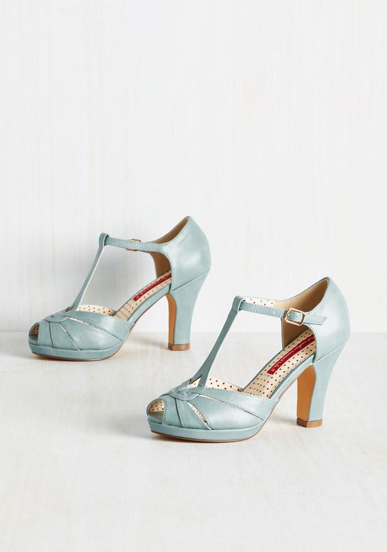 Take Your Dances Heel. You live to boogie, and nothing carries you across the floor quite like these dusty blue heels by Bait Footwear. #blue #wedding #modcloth